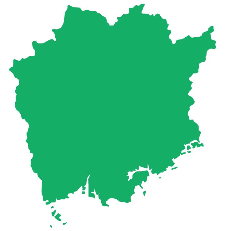 岡山県の買取エリアの地図